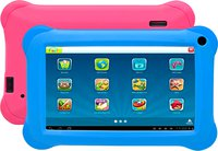 Tablet-PC 'TAQ-70352' (Kido'z Software, 1GB RAM, Android 8.1), Schwarz mit 2 Bumpern Pink & Blue