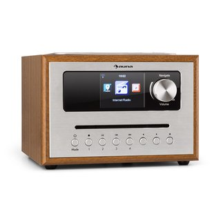 Silver Star CD Cube Radio Bluetooth HCC Display wood brown